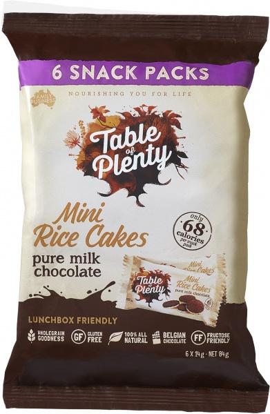 Table of Plenty Mini Rice Cakes - Pure Milk Chocolate 6 x 14g packs